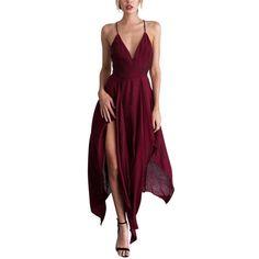 Sleeveless Sling Irregular Long Dresses V Dress, Sexy Maxi Dress, Chiffon Dress Long, Sexy Party Dress, Draped Dress, Prom Party Dresses, V Neck Dress, Sexy Dresses, Casual Dresses