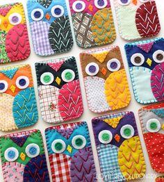 Custom Made Felt And Fabric Patchwork Owl Phone Case