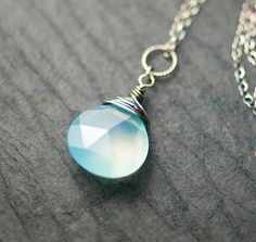 Light Blue Chalcedony Sterling Silver Wire Wrapped by mossandmist, $49.00