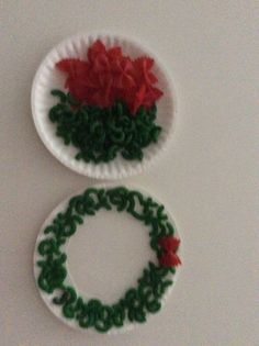 Christmas Wreath made with macaroni and pasta bows. Red and green food coloring and isopropyl alcohol mixed separate and set aside to dry 24 hours. Small paper plates with center cut out ....