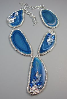 Embellished Ocean Agate and crystal statement necklace by EzzaExclusive Agate Jewelry, Jewelry Box, Jewelry Accessories, Jewelry Necklaces, Jewelry Ideas, Jewellery, Shades Of Blue, 50 Shades, Crystal Statement Necklace