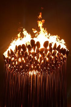 The Olympic flame burns in the cauldron during the Opening Ceremony. (Photo: Pool/Getty Images)