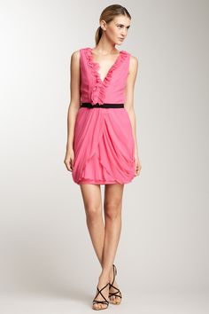 Vera Wang Crinkle Chiffon Ruffle Trim V Dress/ 62% off...love this dress!
