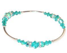 BLUE ZIRCON Teal Crystal Bracelet Stretch Sterling Silver Handcrafted Swarovski Elements by CharminglyYoursToo on Etsy