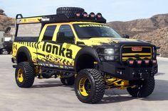 The Tonka T-Rex Super Duty is definitely an eye-catcher with its prominent blazing yellow exterior. Custom Trucks, Custom Cars, Toy Trucks, Monster Trucks, Work Trailer, Jeepney, Truck Paint, Ford 4x4, Hot Wheels Cars
