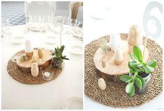 Centre de taula modern (matriusques de fusta natural i daurat)