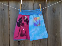 Girl's upcycled, repurposed t-shirt skirt, back to school, puppy embellishment by SewRevival on Etsy