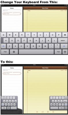On the iPad: Make typing more comfortable by switching your keyboard to thumb mode.Simply swipe two fingers across the keyboard.This displays a different keyboard, which allows you to type with your thumbs the same way you type on your iPhone.