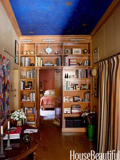 The painted ceiling in Patrick Gallagher's Rome apartment was inspired by frescoes glimpsed through windows at night.