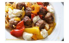 Makaron z pulpecikami wołowymi, pieczoną papryką i mozzarellą | Kwestia Smaku