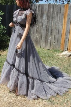 Black and grey gothic wedding gown with vail hand dyed corpse // undead bride Small Medium. $199.00, via Etsy.