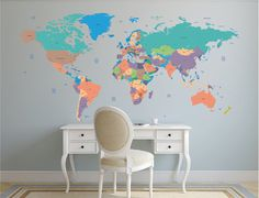 World map decal. Political world map wall decal. Vinyl wall sticker. Removable