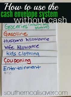 How to use the cash envelope system without cash - Smart Money Mom - Finance tips, saving money, budgeting planner Budgeting System, Budgeting Finances, Budgeting Tips, Envelope Budget System, Cash Envelope System, Dave Ramsey Envelope System, Budget Envelopes, Cash Envelopes, Financial Peace