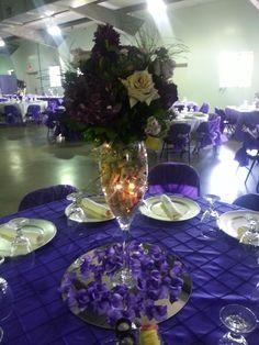 Wine glass table centerpiece