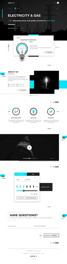Elgastrom energy provider landing page electricity gas ui design website…