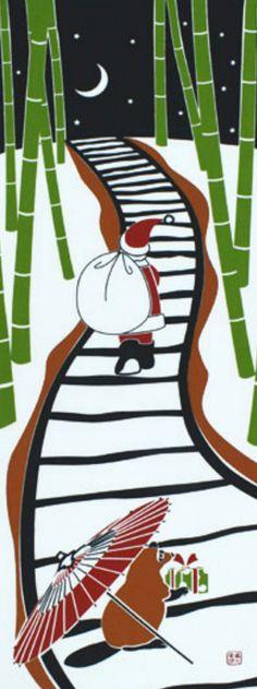 Japanese Tenugui Fabric, Hand Dyed Christmas Decor Fabric, Santa Claus & Raccoon Dog, Christmas Gift, Home Decor Wall Art Tapestry, JapanLovelyCrafts