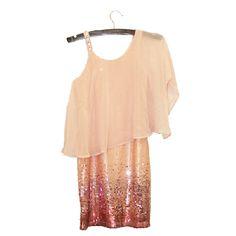 Elisa B Tween Girls Blush Peach Pink Sparkling Sequin Chiffon Dress $94.99