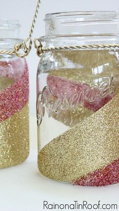 How to Glitter Mason Jars