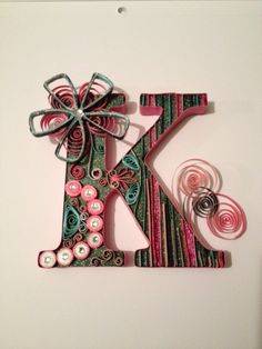 """Quilled letter """"K"""" for Katie 6 x 6 free standing , black , pink, mint green. Quilling Letters, Activities For Girls, Paper Quilling Designs, Alphabet And Numbers, Lettering, Monogram Letters, Paper Design, Birthday Gifts, Paper Crafts"""