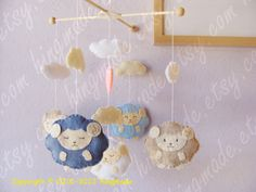 Baby Mobile - Baby Crib Mobile - Sweet Lambie Mobile - Baby Gift - Adorable Blue Brown Sleepy Sheep farm (You can pick your colors). $98.00, via Etsy.