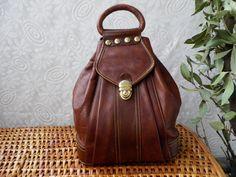 Vintage 1980's Lady's Dark Chocolate Brown Leather Medium Size Drawstring Hand Bag Purse.via Etsy.