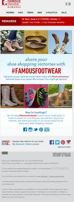 Sent: 2/18/14 SL:'Love Shoes? Love Social? Be Featured!' Social email from Famous Footwear with tips on how to use a hashtag. Social Media Outlets, Teen Guy, Hashtags, Knowing You, Footwear, Tips, Men, Inspiration, Shoes