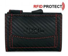 SecWal Cardprotector Carbon schwarz mit roter Naht RFID Schutz - Bags & more Black Leather, Red