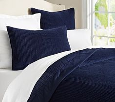 Velvet Channel Quilt & Shams #potterybarn