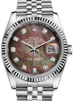 116234 Black mother-of-pearl set with diamonds, Rolex часы Datejust 36 Steel Fluted Bezel - Jublilee Bracelet