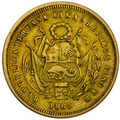 Peru, 5 Soles 1863 Gold