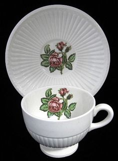 Moss Rose Wedgwood Edme Cup and Saucer Cream Ware England 1940s