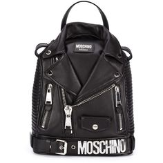 Moschino biker backpack (9.180 BRL) ❤ liked on Polyvore featuring bags, backpacks, black, leather knapsack, real leather backpack, leather rucksack, bike bag and leather bike bag