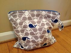 Large Waterproof Wet Bag with Handle - 14x14 - grey and blue whales, 21 Threads