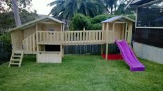 my Cubby cubby house. A cubby and a fort with walkway attaching them. #kids #play #children #backyard #cubbyhouses