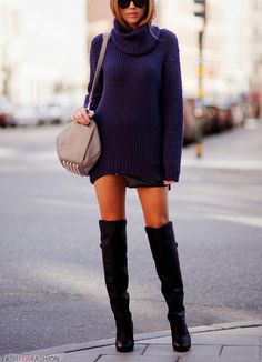 my favorite winter look chunky sweaters and tall boots Fall Winter Outfits, Autumn Winter Fashion, Winter Chic, Look Fashion, Womens Fashion, Fashion Trends, Fall Fashion, Fashion Ideas, Fashion Design