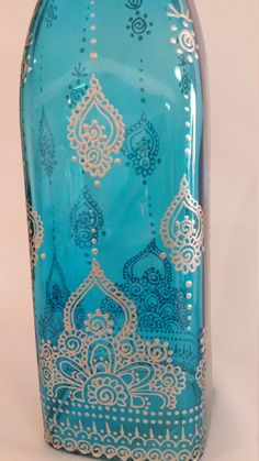 Hand painted blue tinted glass bottle/ di SketchedNEmbellished