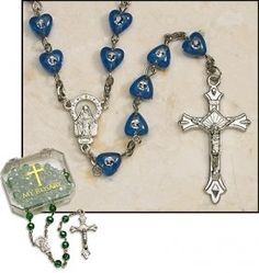Sapphire Heart Rosary with Case | My Brother's Keeper Catholic Gift Shop