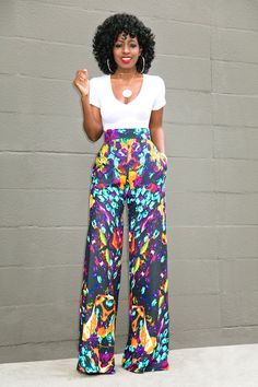 V-Neck Tee Bodysuit + Printed Palazzo Pants Boho Outfits, Stylish Outfits, Fashion Outfits, Emo Fashion, Fashion Women, Style Fashion, Pallazo Pants, Printed Palazzo Pants, African Print Fashion