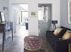 Modern Pale Blue Living Room with Parquet Flooring