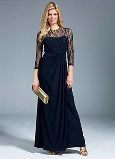 Gorgeous jersey maxi dress with v-back and lace neckline and sleeves, features a flattering gathered waistband, waterfall front and pleat detail. This dress is cut to flatter, so you will look stunning at the party.  Brand: Together  Hand wash only  Main body: 95% Polyester, 5% Elastane  Bodice & Sleeves: 92% Polyester, 8% Elastane  Length approx. 137 cm (54 ins)