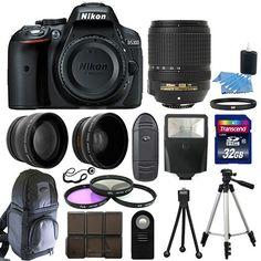 Nikon D5300 Digital SLR Camera Black + 3 Lens Kit 18-140mm VR Lens + 32GB Bundle #Nikon