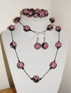 Polymer clay rose beads with genuine by CreationsbyMaryEllen, $21.75
