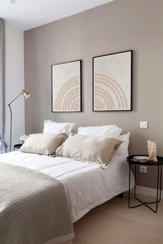 Beige Walls Bedroom, Bedroom Wall Colors, Accent Wall Bedroom, Bedroom Decor For Couples, Home Decor Bedroom, Minimalist Room, Modern Bedroom Design, Mandala Printable, Decoration