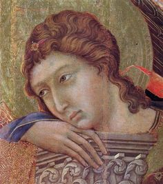 Madonna and Child on a throne (Front side fragment) - Duccio