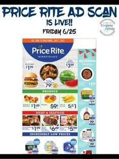 Price Rite Ad 6/25: Free Dole Lemonades, $.88 Hunts Ketchup and more Rice Krispie Treats, Rice Krispies, Tyson Chicken Wings, Smuckers Uncrustables, Totinos Pizza Rolls, Aunt Jemima Pancakes, Pepperidge Farm Goldfish, Dole Pineapple, Crunch Cereal