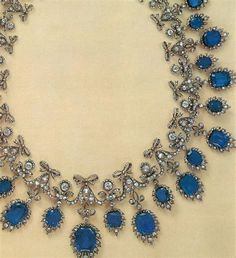 """Described in a book by Stefano Papi, """"Jewels of the Romanov Family and Court"""" as a garland style necklace created in 1854 by Chaumet. It was made for Countess Lanckoronska as part of a large parure. Russian Jewelry, Royal Jewelry, Jewelry Box, Jewelery, Fine Jewelry, Jewelry Necklaces, Trendy Necklaces, Silver Jewellery, Silver Necklaces"""