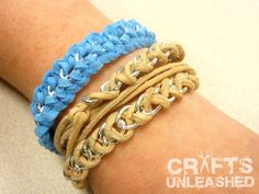 "Easy DIY: Leather and Chain ""Braid"" Wrap Braceletleather-suede-and-chain-bracelets"