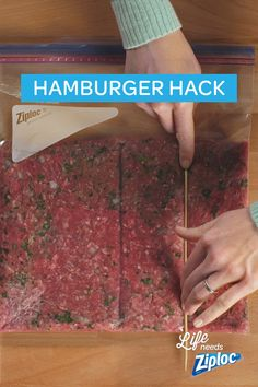 If you don't need to make a dozen hamburgers, you definitely need to try this simple hack. Section and freeze hamburger meat inside of a Ziploc® bag. Then, break apart the patties you need and save the rest. A good tip to remember when you're only cooking for two. Tip: Use a skewer or chopsticks to section the meat.