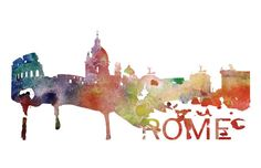 Rome Italy Skyline Watercolor Art Print by DreamMachinePrints