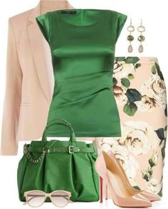 Fashion Style Combination - Emerald Silk Sleeveless Shell Blouse with floral green and plain pink, pale pink jacket, emerald handbag, pale pink pumps, and emerald pocketbook.